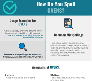 Correct spelling for ovens
