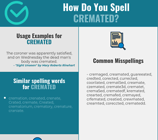Correct spelling for cremated