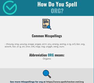 Correct spelling for ORG