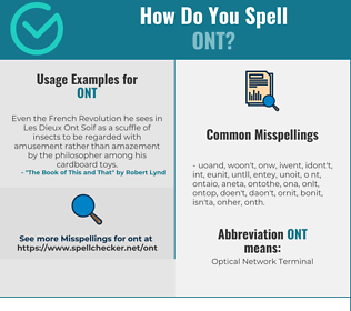 Correct spelling for ONT