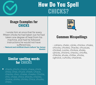 Correct spelling for chicks