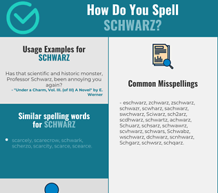 Correct spelling for Schwarz