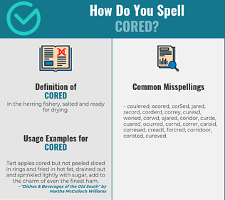 Correct spelling for cored