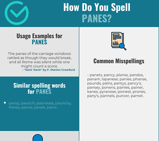 Correct spelling for panes