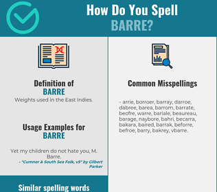 Correct spelling for barre