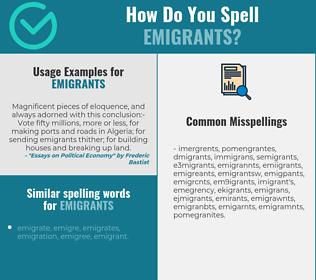 Correct spelling for emigrants