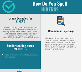Correct spelling for hikers