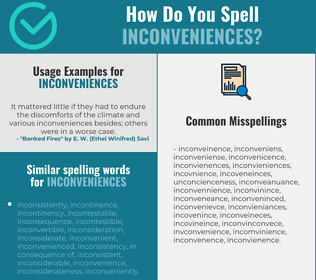 Correct spelling for inconveniences