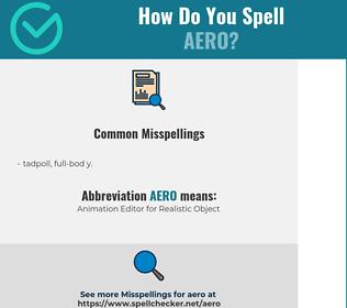 Correct spelling for aero
