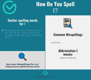 Correct spelling for e