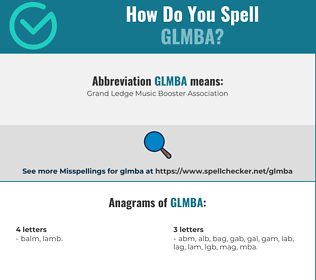 Correct spelling for GLMBA