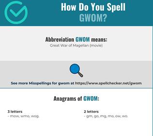 Correct spelling for gwom