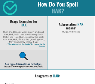Correct spelling for HAK