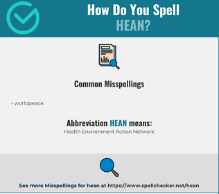 Correct spelling for hean