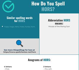 Correct spelling for hors