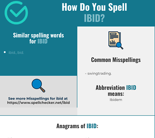 Correct spelling for ibid