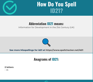 Correct spelling for ID21