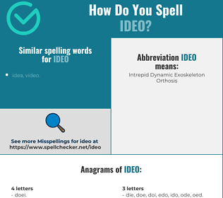 Correct spelling for ideo