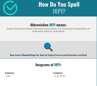 Correct spelling for IKPI