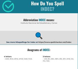 Correct spelling for indec