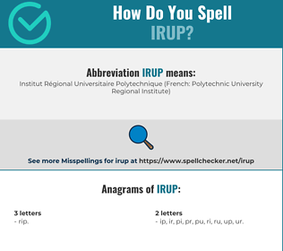 Correct spelling for IRUP