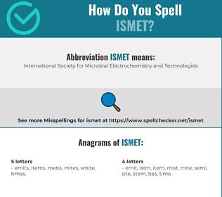 Correct spelling for ismet