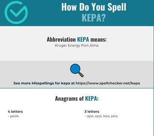 Correct spelling for kepa