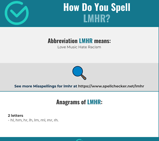 Correct spelling for lmhr