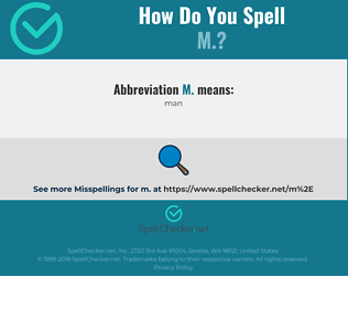 Correct spelling for m.