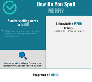 Correct spelling for mehr