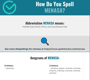 Correct spelling for MENASA