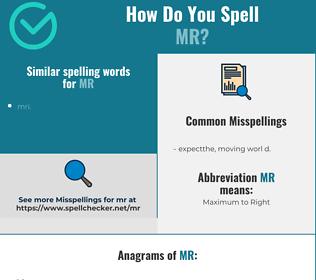 Correct spelling for mr