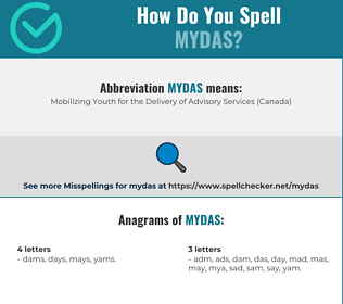 Correct spelling for mydas