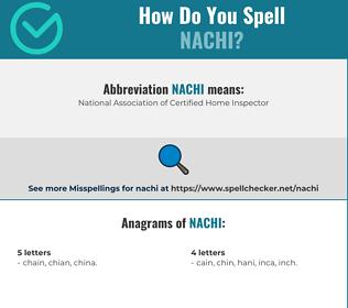 Correct spelling for nachi