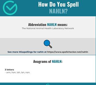 Correct spelling for NAHLN