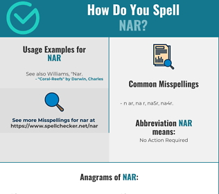 Correct spelling for NAR