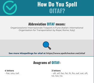 Correct spelling for OITAF
