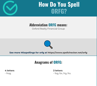 Correct spelling for ORFG