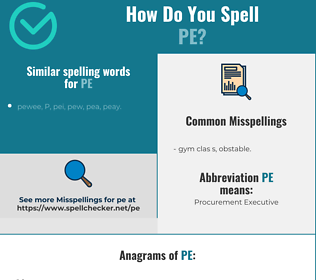 Correct spelling for pe