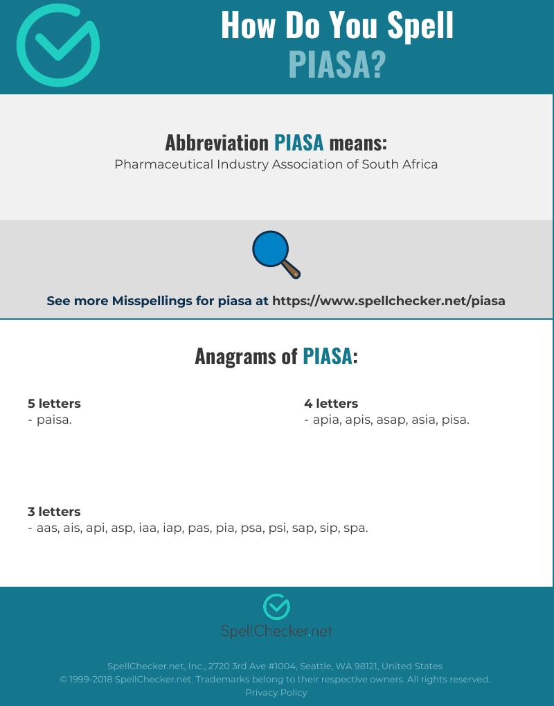 Correct spelling for piasa [Infographic] | Spellchecker net
