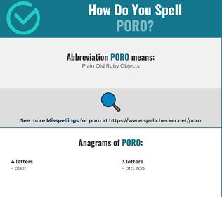 Correct spelling for poro