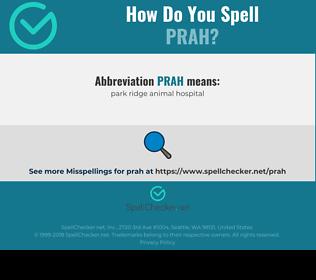 Correct spelling for prah