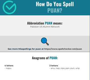 Correct spelling for puan