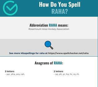 Correct spelling for raha