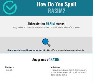 Correct spelling for rasim