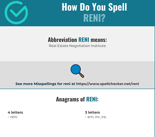 Correct spelling for reni