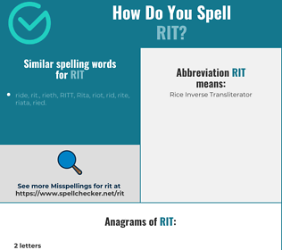 Correct spelling for rit