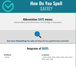 Correct spelling for saite
