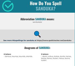 Correct spelling for SANDUKA