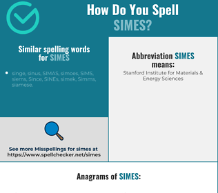 Correct spelling for simes
